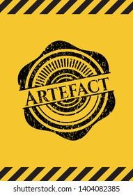 Artefact black grunge emblem inside yellow warning sign. Vector Illustration. Detailed.