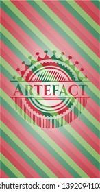 Artefact christmas badge background. Vector Illustration. Detailed.