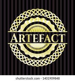 Artefact gold emblem or badge. Vector Illustration. Detailed.