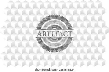 Artefact grey emblem with geometric cube white background
