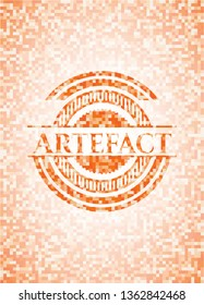 Artefact orange tile background illustration. Square geometric mosaic seamless pattern with emblem inside.