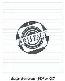 Artefact pencil strokes emblem. Vector Illustration. Detailed.