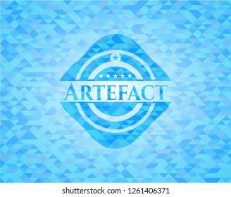 Artefact realistic light blue emblem. Mosaic background