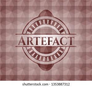 Artefact red seamless polygonal badge.
