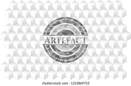 Artefact retro style grey emblem with geometric cube white background
