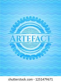 Artefact water wave concept badge background.