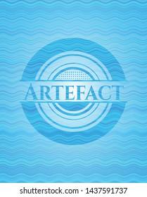 Artefact water wave representation emblem. Vector Illustration. Detailed.