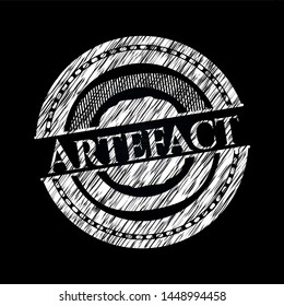 Artefact written on a chalkboard. Vector Illustration. Detailed.