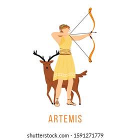 Artemis flat vector illustration. Ancient Greek deity. Goddess of Moon, hunt and archery. Mythology. Divine mythological figure. Isolated cartoon character on white background