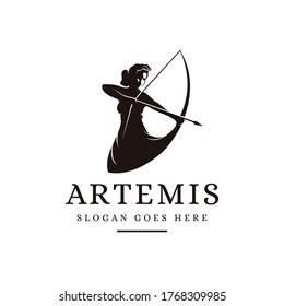 Artemis Goddess logo icon illustration vector on white background, archer logo