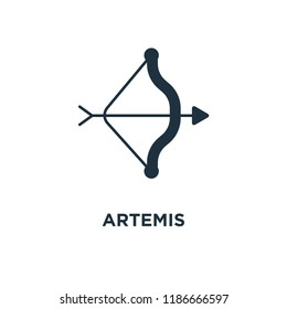 Artemis icon. Black filled vector illustration. Artemis symbol on white background. Can be used in web and mobile.
