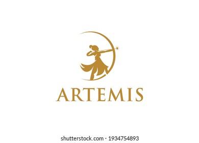 Artemis logo design  archery illustration logo vector
