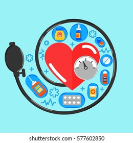 Arterial blood pressure checking, health care concept in modern flat style for info graphic and web banners. Heart icon and a lot of pills.