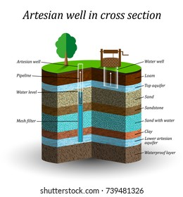 Artesian water well in cross section, schematic education poster. Groundwater, sand, gravel, loam, clay, extraction of moisture from the soil, vector illustration.