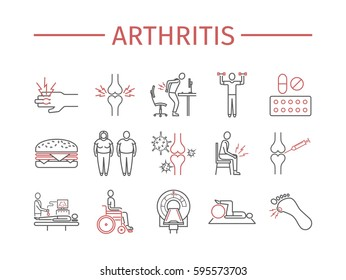 Arthritis. Symptoms, Treatment. Line icons set. Vector signs for web graphics.