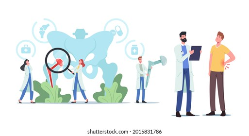 Arthroplasty, Osteoarthritis, Hip Replacement Concept. Tiny Characters at Huge Human Pelvic Bones with Total Hip Prosthesis Implant. Patient at Doctor Appointment. Cartoon People Vector Illustration