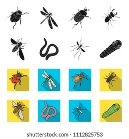 Arthropods insect mosquito, bee.Earth worm, caterpillar,vermicular set collection icons in black,flet style vector symbol stock isometric illustration web.