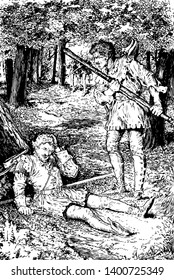 Arthur to A to Bland and Robin Hood this scene shows two men fighting with staffs in forest one man fallen under tree and another man standing in front of him holding staff vintage line drawing