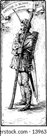 Arthur to a to Bland this scene shows a standing soldier deeply in thinking and ARTHUR to A to BLAND is written on above his head vintage line drawing or engraving illustration