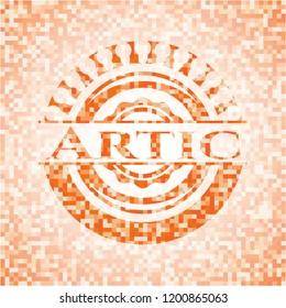 Artic abstract orange mosaic emblem