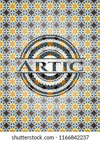 Artic arabesque style badge. arabic decoration.
