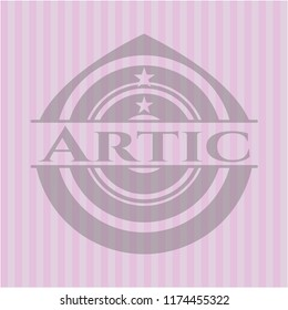 Artic badge with pink background