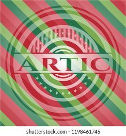 Artic christmas emblem.