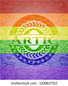 Artic emblem on mosaic background with the colors of the LGBT flag
