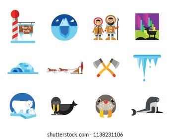 Artic Icon Set. Polar Bears Dogteam Eskimos North Lights North Pole Igloo Lumberjack Axes Iceberg Whale Walrus Ice Walrus Face Sea Calf