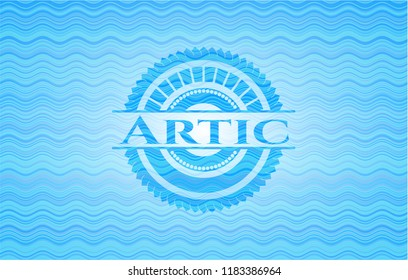 Artic sky blue water badge background.