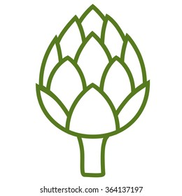 ARTICHOKE. Flat Icon green color on white background. Isolated. Vector image.