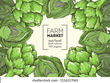 Artichoke hand drawn illustration. Organic food design template. Colored vector illustration. Healthy food frame. Farm market concept. Artichoke vegetable.