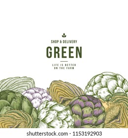 Artichoke organic market design template. Organic vegetables. Vector illustration
