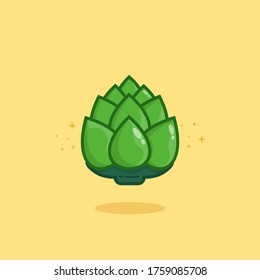 Artichoke Vector Icon Illustration. Cute Vegetable. Flat Cartoon Style Suitable for Web Landing Page, Banner, Sticker, Background