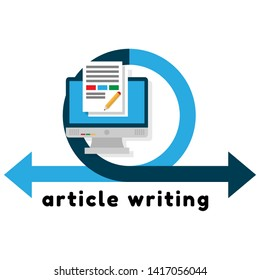 article writing design flat concept, flat design. monitor with article news icon.