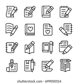 Article Writing Line Vector Icons Set