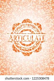 Articulate abstract emblem, orange mosaic background