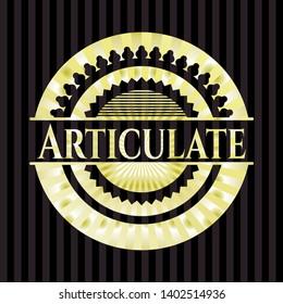 Articulate gold emblem or badge. Vector Illustration. Detailed.