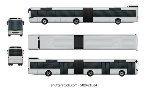 Articulated city bus vector template. Urban transport isolated on white. The ability to easily change the color. View from side, back, front, top. All sides in groups on separate layers