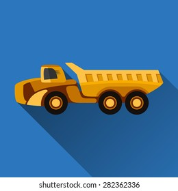 Articulated dump truck flat style icon with shadow