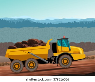 Articulated dump truck at work. Vector color illustration