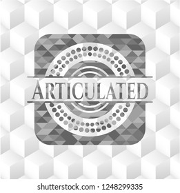 Articulated grey emblem with geometric cube white background