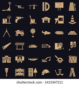 Articulated lorry icons set. Simple set of 36 articulated lorry vector icons for web for any design