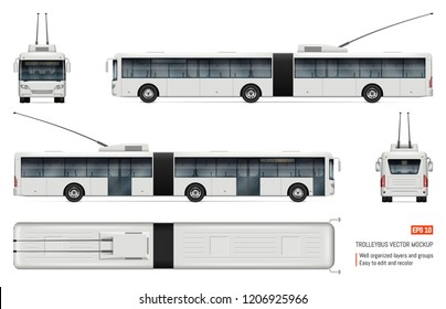 Articulated trolleybus vector mockup on white for vehicle branding, corporate identity. View from side, front, back, top. All elements in the groups on separate layers for easy editing and recolor.