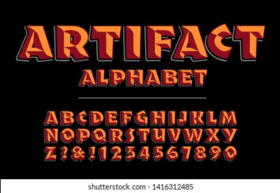 Artifact alphabet is a bold rough hewn lettering style with warm colors and 3d effects.