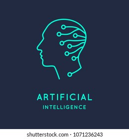 Artifical intelligence, conceptual sign and logo. The analytical system. Vector illustration.