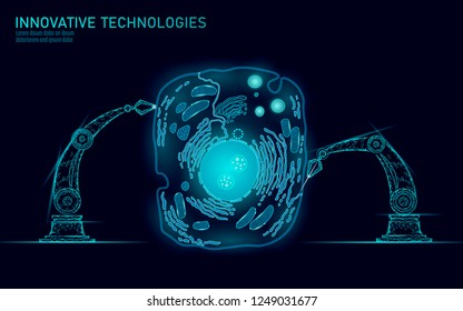 Artificial cell synthesys gene therapy DNA 3D chemical. Animal cell biochemistry engineering research concept. Biorobot robotic arm industry vector illustration future business technology