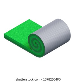 Artificial green grass roll with a gray plastic grid base. Detailed 3d vector icon. Original design for advertising of sports turf. Isometric view. Unrolled piece of synthetic lawn. Isolated clipart