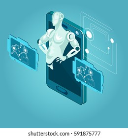 Artificial intellegance isometic illustration. Composition with robot.3D isometric concept.