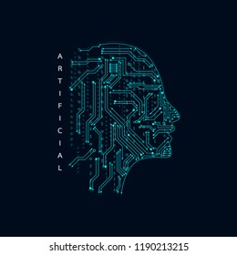 Artificial intelligence. Abstract geometric Human head outline with circuit board. Technology and engineering concept background. Vector illustration